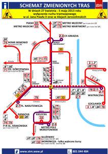 Bez tramwajów w Al. Jerozolimskich i al. Jana Pawła II