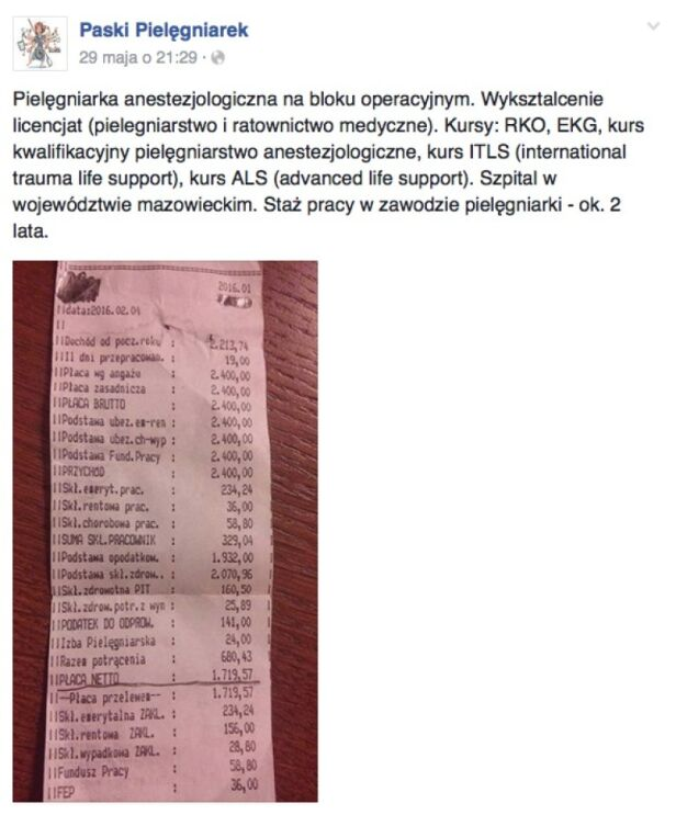 Zarobki pielęgniarek Paski Pielęgniarek / Facebook