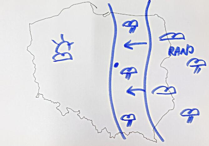Strefa opadów we wtorek nad Polską