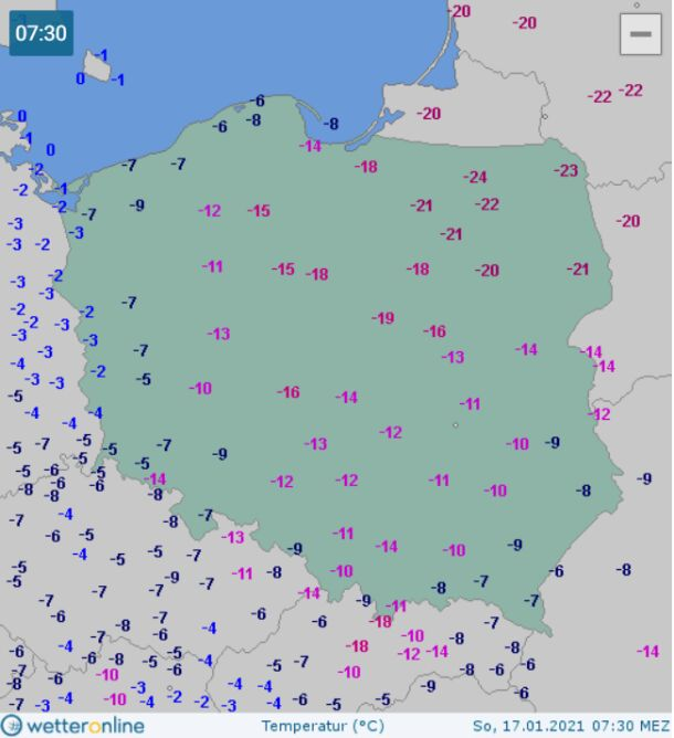 Temperatura w Polsce 17 stycznia o godzinie 7.30 (wetteronline.de)