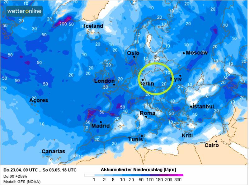 Prognoza sumy opadów deszczu od 23 kwietnia do 3 maja 2020 (GFS/wetetronline.de)