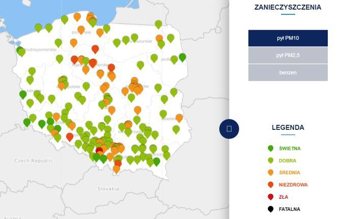 Stężenie pyłu PM10 o godzinie 9 (tvnmeteo.pl za GIOŚ)