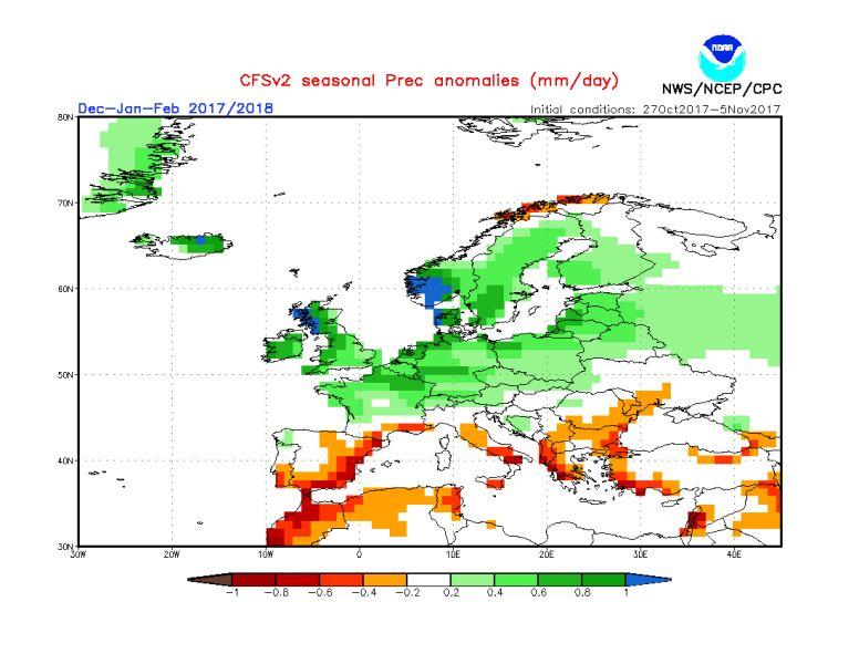 Odchylenie opadów dla grudnia, stycznia i lutego (NOAA)