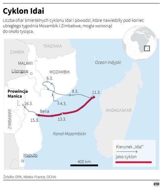 Trasa przejścia cyklonu Idai (Adam Ziemienowicz/PAP/DPA)