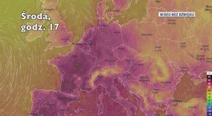 Prognozowana temperatura w Europie w następnych dniach (Ventusky.com)
