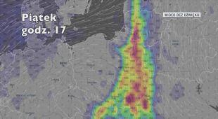 Potencjalne miejsce wystąpienia burz w piątek (Ventusky.com)