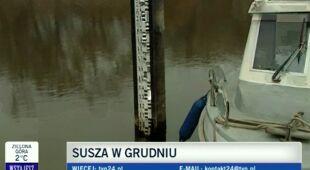 Reporterka TVN24, Ewa Paluszkiewicz o niskim poziomie Wisły (TVN24)